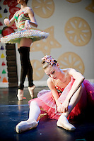The dancers warm up before the second act at The Carolina Ballet's Nutcracker in Raleigh, NC.