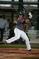 Jose Gutierrez (15) of Lamar High School in Arlington, Texas during the Under Armour All-American Pre-Season Tournament presented by Baseball Factory on January 14, 2017 at Sloan Park in Mesa, Arizona.  (Art Foxall/MJP/Four Seam Images)