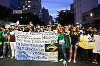 SÃO PAULO,SP,22 JUNHO 2013 - PROTESTO PAC 37 - Manifestantes  realizam protesto contra o PAC 37 na Rua da Consolação sentido centro, na tarde deste sabado (22).FOTO ALE VIANNA - BRAZIL PHOTO PRESS