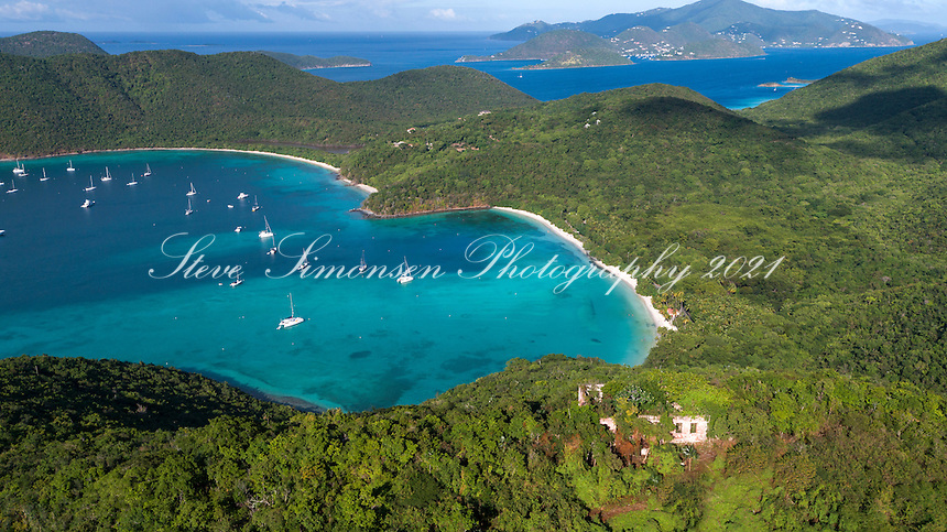 Maho Bay with America Hill Ruins in the foreground<br />