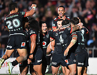 Warriors players celebrate a try.<br /> NRL Premiership rugby league. Vodafone Warriors v St George Illawarra. Mt Smart Stadium, Auckland, New Zealand. Friday 20 April 2018. &copy; Copyright photo: Andrew Cornaga / www.Photosport.nz