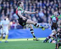 Nick Evans of Harlequins clears his line during the Heineken Cup Round 5 match between Harlequins and ASM Clermont Auvergne at the Twickenham Stoop on Saturday 11th January 2014 (Photo by Rob Munro)