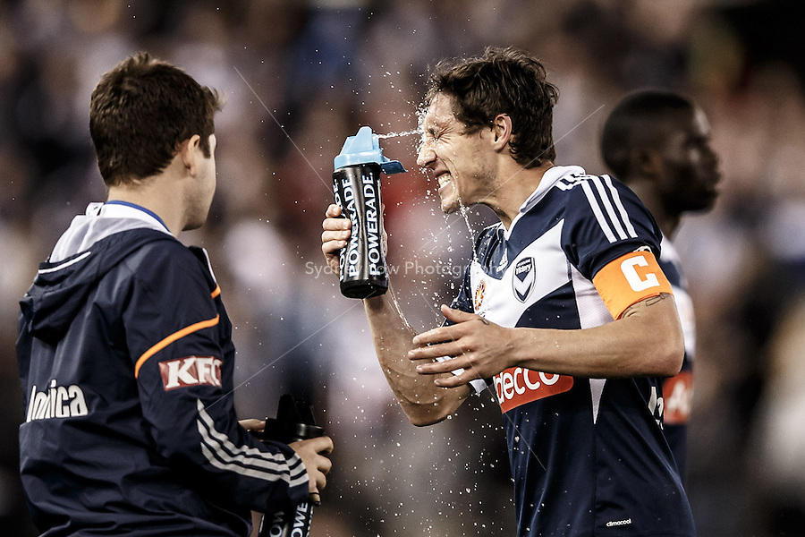 Mark MILLIGAN of the Victory cools down in the round four match between Melbourne Victory and Wellington Phoenix in the Australian Hyundai A-League 2013-24 season at Etihad Stadium, Melbourne, Australia.<br /> This image is not for sale. Please visit zumapress.com for image licensing.