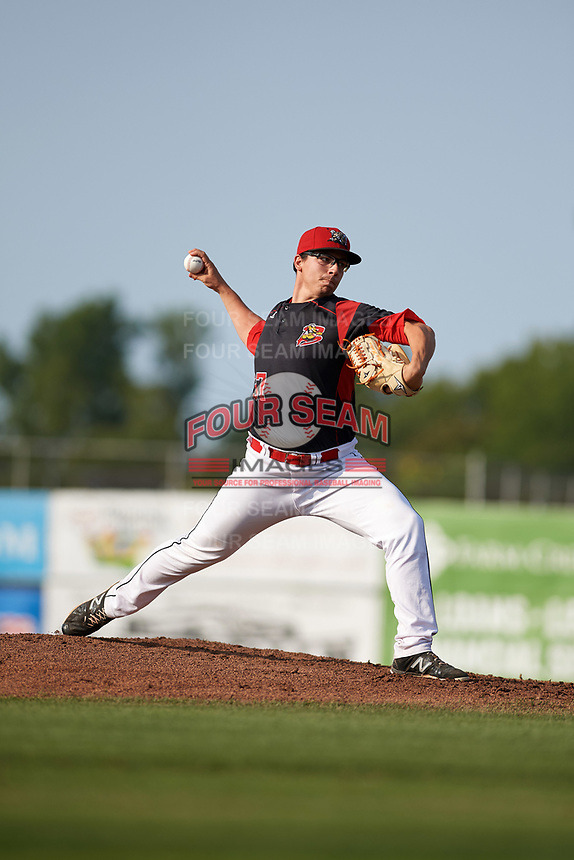 Batavia Muckdogs starting pitcher Alex Mateo (37) delivers a pitch during the first game of a doubleheader against the Mahoning Valley Scrappers on August 28, 2017 at Dwyer Stadium in Batavia, New York.  Mahoning Valley defeated Batavia 6-3.  (Mike Janes/Four Seam Images)