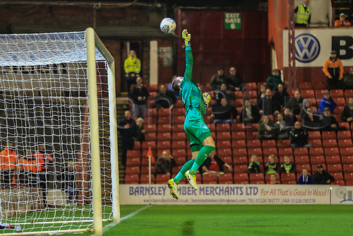 26th September 2017, Oakwell, Barnsley, England; EFL Championship football, Barnsley versus Queens Park Rangers; Alex Smithies of Queens Park Rangers FC makes a fingertip save