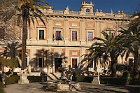 Low angle view of the Archivo General de Indias (General Archive of the Indies), Seville, Spain, pictured on January 3, 2007. The Archive containing historial documents relating to Spain's Imperial history is housed in the old Casa Lonja de Mercaderes or Merchants' Exchange, 1584-98, designed by Juan de Herrera. This fine example of Italianate Spanish Renaissance architecture and its contents became a UNESCO  World Heritage Site in 1987. Picture by Manuel Cohen.