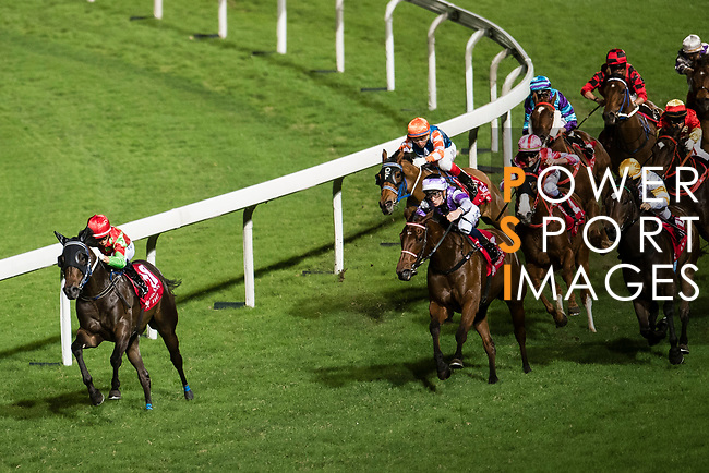 Jockey #10 Joao Moreira riding Star of Joy (L) leading the race 7 during of Hong Kong Racing at Happy Valley Race Course on November 22, 2017 in Hong Kong, Hong Kong. Photo by Marcio Rodrigo Machado / Power Sport Images