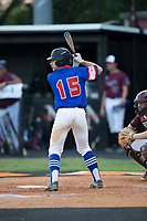 Sam Crowe (15) of Mooresville Post 66 at bat against Kannapolis Post 115 during an American Legion baseball game at Northwest Cabarrus High School on May 30, 2019 in Concord, North Carolina. Mooresville Post 66 defeated Kannapolis Post 115 4-3. (Brian Westerholt/Four Seam Images)