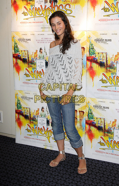 "ELISA LASOWSKI.UK Premiere of ""The Wackness"" at the Curzon, Soho, London, England, .August 20th 2008.full length jeans rolled up cream knitted crochet jumper off the shoulder sweater gold sandals .CAP/ROS.©Steve Ross/Capital Pictures"