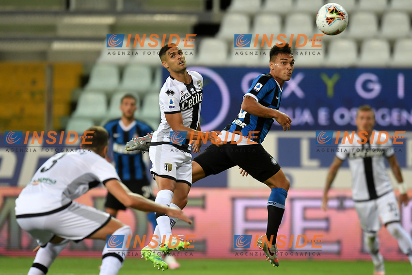 Hernani Jr of Parma and Lautaro Martinez of FC Internazionale during the Serie A football match between Parma and FC Internazionale at stadio Ennio Tardini in Parma ( Italy ), June 28th, 2020. Play resumes behind closed doors following the outbreak of the coronavirus disease. <br /> Photo Andrea Staccioli / Insidefoto