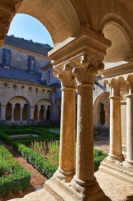 Co;umns in the cloisters of the 12th century Romanesque Cistercian Abbey of Notre Dame of Senanque ( 1148 ) . Provence near Gordes, France.