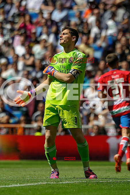 Real Madrid´s goalkeeper Iker Casillas regrets after a goal during 2014-15 La Liga match between Real Madrid and Granada at Santiago Bernabeu stadium in Madrid, Spain. April 05, 2015. (ALTERPHOTOS/Luis Fernandez) /NORTEphoto.com