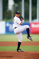 Tampa Yankees starting pitcher Justus Sheffield (20) delivers a warmup pitch during a game against the Daytona Tortugas on August 5, 2016 at George M. Steinbrenner Field in Tampa, Florida.  Tampa defeated Daytona 7-1.  (Mike Janes/Four Seam Images)