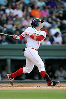 Catcher Jordan Procyshen (17) of the Greenville Drive bats in a game against the Charleston RiverDogs on Sunday, May 24, 2015, at Fluor Field at the West End in Greenville, South Carolina. Charleston won 3-2. (Tom Priddy/Four Seam Images)