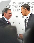 McLean, VA - April 20, 2009 -- United States President Barack Obama shakes hands with CIA Director Leon Panetta after making remarks to Central Intelligence Agency (CIA) employees at the George Bush Center for Intelligence (CIA Headquarters) in McLean, Virginia on Monday, April 20, 2009..Credit: Ron Sachs / Pool via CNP