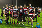 Stephen Donald, Orbyn Leger, Gafatasi Su'a, Pauliasi Manu, Viliami Taulani and Matiaha Martin after the Mitre 10 Cup rugby game between Counties Manukau Steelers and Auckland played at ECOLight Stadium, Pukekohe on Saturday August 19th 2017. Counties Manukau Stelers won the game 16 - 14 and retain the Dan Bryant Memorial trophy.<br /> Photo by Richard Spranger.