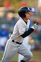 Clinton LumberKings second baseman Bryson Brigman (8) runs to first base during a game against the South Bend Cubs on May 5, 2017 at Four Winds Field in South Bend, Indiana.  South Bend defeated Clinton 7-6 in nineteen innings.  (Mike Janes/Four Seam Images)