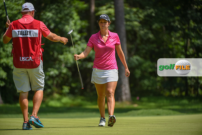 Emma Talley (USA) after sinking her putt on 1 during round 4 of the U.S. Women's Open Championship, Shoal Creek Country Club, at Birmingham, Alabama, USA. 6/3/2018.<br /> Picture: Golffile | Ken Murray<br /> <br /> All photo usage must carry mandatory copyright credit (© Golffile | Ken Murray)