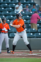 Conor Bierfeldt (43) of the Frederick Keys at bat against the Winston-Salem Dash at BB&T Ballpark on May 24, 2016 in Winston-Salem, North Carolina.  The Keys defeated the Dash 7-1.  (Brian Westerholt/Four Seam Images)