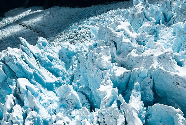 Colourful detail of huge seracs on Franz Josef Glacier, Westland Tai Poutini National Park, West Coast, UNESCO World Heritage Area, New Zealand, NZ