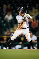 Bradenton Marauders right fielder Bligh Madris (17) at bat during a game against the Tampa Tarpons on April 25, 2018 at LECOM Park in Bradenton, Florida.  Tampa defeated Bradenton 7-3.  (Mike Janes/Four Seam Images)