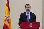 King Felipe VI of Spain gives a speech during the National Culture Awards ceremony at El Pardo Palace in Madrid, Spain. February 16, 2015. (ALTERPHOTOS/Victor Blanco)