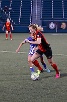 Rochester, NY - Friday June 24, 2016: Western New York Flash midfielder Samantha Mewis (5), Boston Breakers midfielder Angela Salem (26) during a regular season National Women's Soccer League (NWSL) match between the Western New York Flash and the Boston Breakers at Rochester Rhinos Stadium.