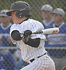 John Conroy #14 of Wantagh connects for a two-run single in the bottom of the second inning of a Nassau County varsity baseball game against Division Avenue at Wantagh High School on Thursday, May 4, 2017. He went 2-3 with 3 RBI in Wantagh's 7-6 win.