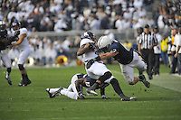 06 October 2012:  Penn State LB Michael Mauti (42) tackles Northwestern WR Kyle Prater (21). The Penn State Nittany Lions defeated the Northwestern Wildcats 39-28 at Beaver Stadium in State College, PA.