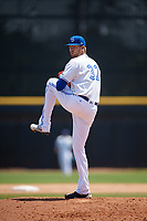 Dunedin Blue Jays starting pitcher T.J. Zeuch (32) delivers a pitch during a game against the Daytona Tortugas on April 22, 2018 at Dunedin Stadium in Dunedin, Florida.  Daytona defeated Dunedin 5-1.  (Mike Janes/Four Seam Images)