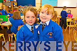 Ria Murphy Quirke and Emma Greensmith pictured on their first day of school at presentation primary, Tralee on Thursday.