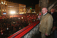 10.05.2014, Marienplatz, Muenchen, GER, 1. FBL, FC Bayern Muenchen Meisterfeier, im Bild Karl-Heinz Rummenigge, CEO of Bayern Muenchen speaks to the crowd during the celebrateion of the German championship title Karl-Heinz Rummenigge, // during official Championsparty of Bayern Munich at the Marienplatz in Muenchen, Germany on 2014/05/11. EXPA Pictures © 2014, PhotoCredit: EXPA/ Eibner-Pressefoto/ EIBNER<br /> <br /> *****ATTENTION - OUT of GER***** <br /> Football Calcio 2013/2014<br /> Bundesliga 2013/2014 Bayern Campione Festeggiamenti <br /> Foto Expa / Insidefoto