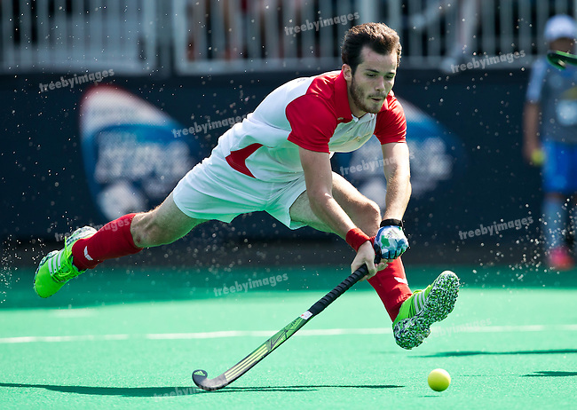 03/07/2015<br /> HWL Semi Final Antwerp Belgium 2015<br /> Malaysia v France M<br /> Jean Laurent Kieffer strides towards goal<br /> Photo: Grant Treeby