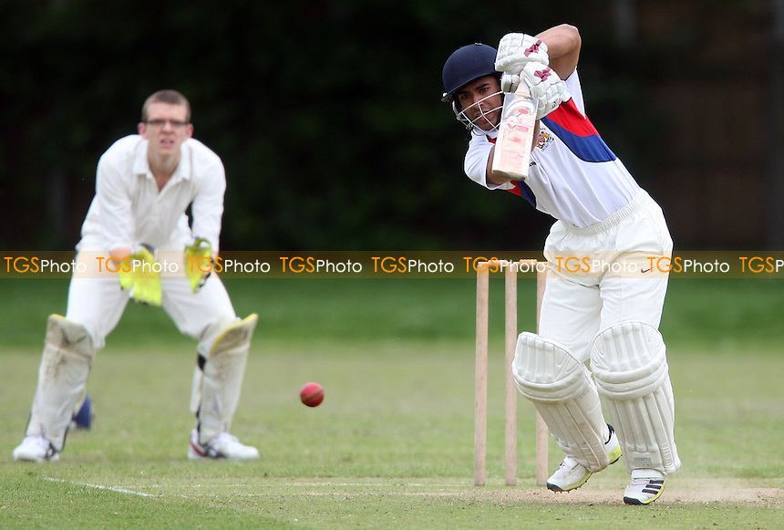 Sam Samarasekera of Hornchurch Athletic in batting action - Hornchurch Athletic CC vs Galleywood CC, Essex Club Cricket at Hylands Park, Hornchurch - 18/05/13 - MANDATORY CREDIT: Rob Newell/TGSPHOTO - Self billing applies where appropriate - 0845 094 6026 - contact@tgsphoto.co.uk - NO UNPAID USE.