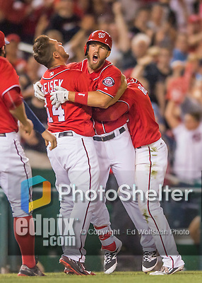 23 July 2016: Washington Nationals shortstop Stephen Drew celebrates his a pinch-hit walk-off triple, scoring Anthony Rendon in the bottom of the 9th inning, as the Nationals take the second game of their 3-game series 3-2 against the San Diego Padres at Nationals Park in Washington, DC. The win ties their series at one game apiece. Mandatory Credit: Ed Wolfstein Photo *** RAW (NEF) Image File Available ***