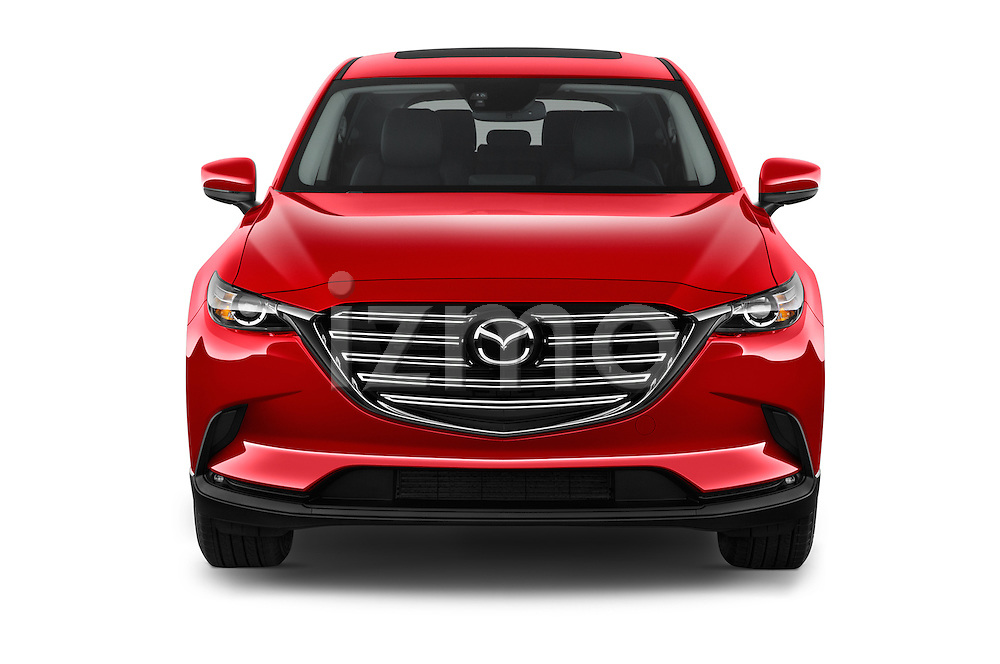 Car photography straight front view of a 2016 Mazda CX-9 Touring-FWD 5 Door SUV Front View