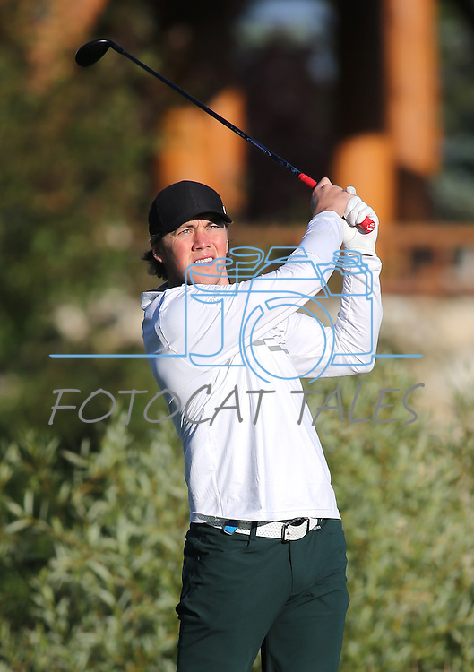 NHL's T. J. Oshie watches his shot in the final round of the American Century Championship at Edgewood Tahoe Golf Course in Stateline, Nev., on Sunday, July 19, 2015. <br /> Photo by Cathleen Allison