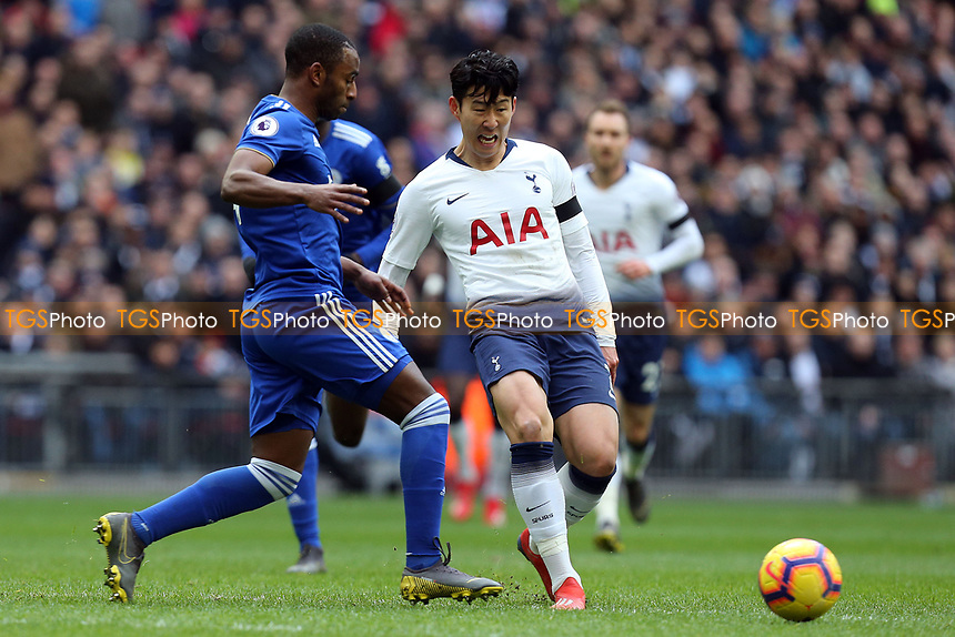 Ricardo Pereira of Leicester City and Son Heung-Min of Tottenham Hotspur during Tottenham Hotspur vs Leicester City, Premier League Football at Wembley Stadium on 10th February 2019