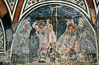 Descent from the Cross,wall-painting,crypt,AD 955,Osios Loukas Monastery,Greece