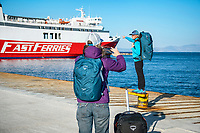 Waiting for a ferry to travel through the Greek Islands and making photos with the phone camera.