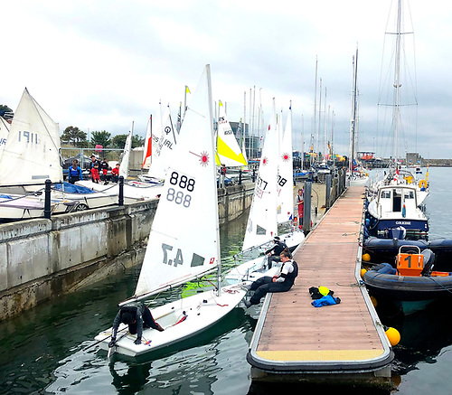 Lasers and other single-handers prepare to go sailing at the Royal Irish YC