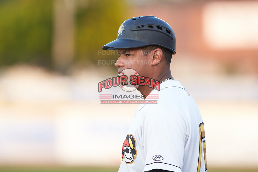 West Virginia Power assistant coach Argenis Diaz (13) coaches first base during the game against the Lexington Legends at Appalachian Power Park on June 7, 2018 in Charleston, West Virginia. The Power defeated the Legends 5-1. (Brian Westerholt/Four Seam Images)