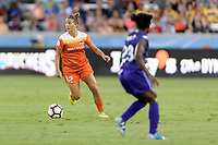 Houston, TX - Saturday June 17, 2017: Amber Brooks looks to pass the ball during a regular season National Women's Soccer League (NWSL) match between the Houston Dash and the Orlando Pride at BBVA Compass Stadium.