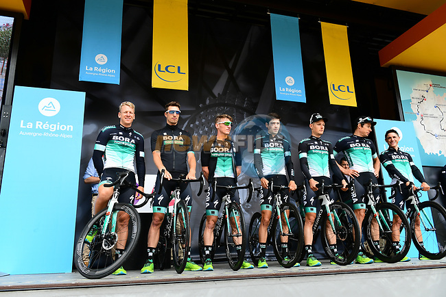 Bora-Hansgrohe introduced on stage at sign on before Stage 1 of the 2018 Criterium du Dauphine 2018 running 179km from Valence to Saint-Just-Saint-Rambert, France. 4th June 2018.<br /> Picture: ASO/Alex Broadway | Cyclefile<br /> <br /> <br /> All photos usage must carry mandatory copyright credit (© Cyclefile | ASO/Alex Broadway)