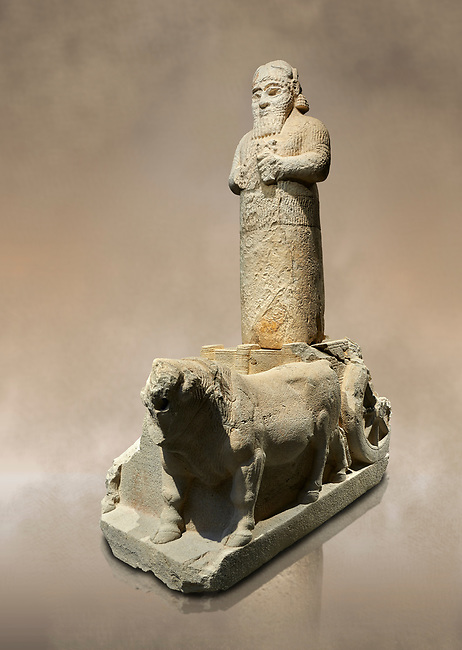 Hittite monumental statue probably of Tarhunda, the Storm God, standing on a cart being pulled by two bulls. Adana Archaeology Museum, Turkey.