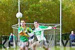Oadraig Reidy of Knocknagoshel chases against John O'Mahony of Ballydonoghue in the County League Division 5 last Sunday in Knocknagoshel.