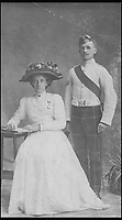 BNPS.co.uk (01202 558833)<br /> Pic: MaureenRogers/BNPS<br /> <br /> ***Please Use Full Byline***<br /> <br /> George and Jean Cavan.<br /> <br /> A soldier's desperate bid to say goodbye to his family by folding a letter into a matchbox and throwing it out of a moving train as it passed his home town has come to light after 97 years.<br /> <br /> Sergeant Major George Cavan and his unit were called to the Western Front from their Scottish base at such short notice they didn't have time to write to their loved ones to tell them.<br /> <br /> His story along with the poignant note has now emerged.