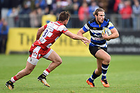 Max Clark of Bath Rugby in possession. Aviva Premiership match, between Bath Rugby and Gloucester Rugby on October 29, 2017 at the Recreation Ground in Bath, England. Photo by: Patrick Khachfe / Onside Images