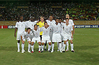 The United States under 20 team stands for a photo before the game at the FIFA Under 20 World Cup Group C Match between the United States and Cameroon at the Mubarak Stadium on September 29, 2009 in Suez, Egypt.