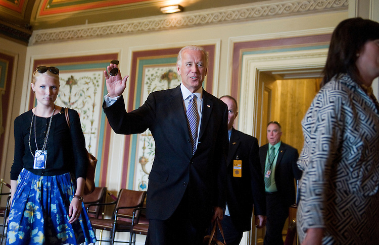 UNITED STATES - JUNE 21:  Vice President Joe Biden makes his way through the Capitol to a bipartisan, bicameral meeting on the deficit. (Photo By Tom Williams/Roll Call)